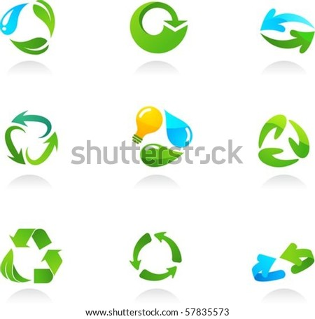 Collection  of glossy 3d recycling icons - stock vector