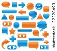 Collection of glossy, glowing web buttons and icons, in bright blue and orange. - stock vector