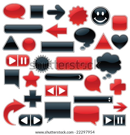 Collection of glossy, glowing web buttons and icons, in sleek red and shiny black - stock vector