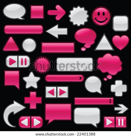 Collection of glossy, glowing web buttons and icons, in wet raspberry and feathery white. Includes buttons for your own text. - stock vector