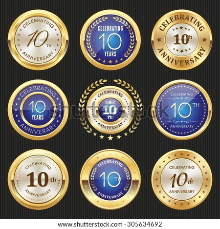 Collection of glossy gold and blue 10th anniversary badges - stock vector