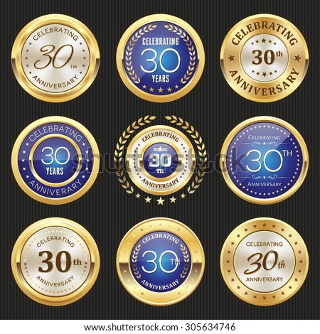 Collection of glossy gold and blue 30th anniversary badges - stock vector