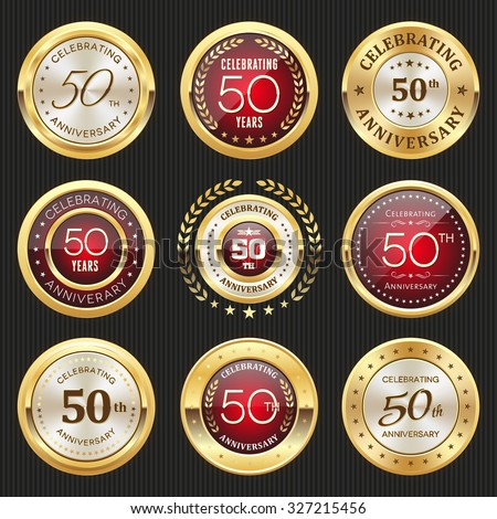 Collection of glossy gold and red 50th anniversary badges - stock vector