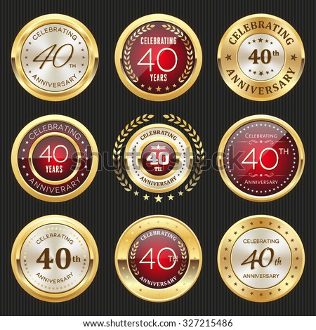 Collection of glossy gold and red 40th anniversary badges - stock vector