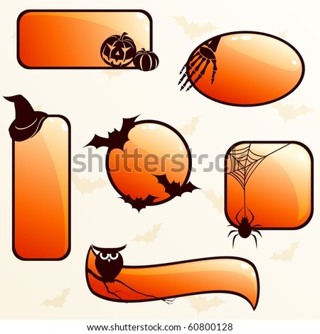 Collection of glossy Halloween banners (Eps10); jpg version also available - stock vector