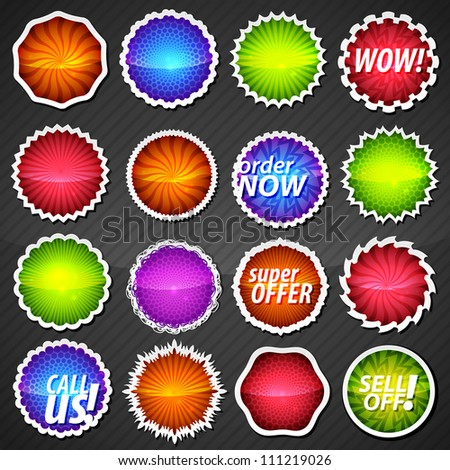 Collection of glossy reflective eps10 round vector stickers in 16 different shape variations, colorful textures with five circle pattern versions - stock vector