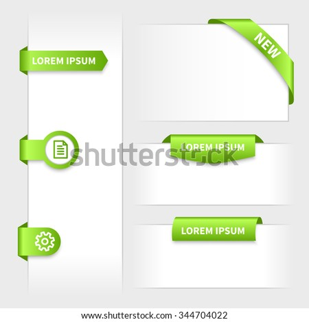 Collection of glossy rounded green 3d stickers. Website tabs with ribbon corner. Presentation on edge. - stock vector