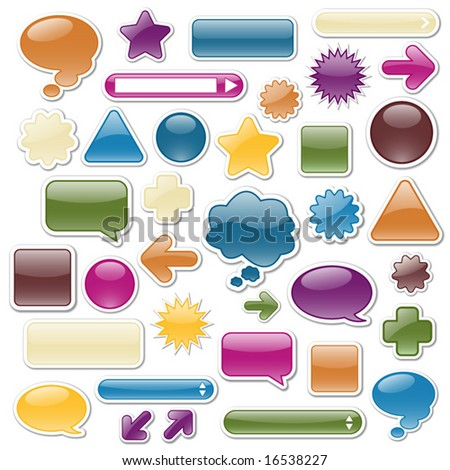 Collection of glossy web elements in jewel tones. Perfect for adding your own text or icons. - stock vector