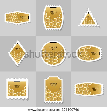 Collection of Gold Fish Or Snake Scales postage stamp, cards, notes, stickers, labels, tags. Template for scrapbooking, wrapping, notebooks - stock vector