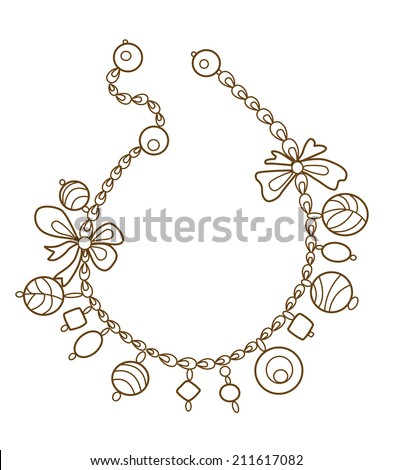 collection of gold jewelery with precious stones (vector illustration)  - stock vector