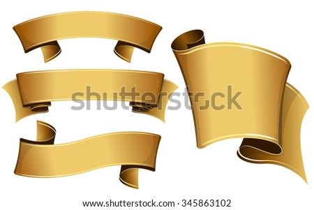 Collection of 4 gold ribbon. Vector illustration  - stock vector