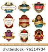 Collection of golden ornate vector labels, 9 different styles - stock vector