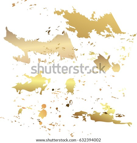 Collection of golden paint strokes to make a background for your design  Vector illustration.