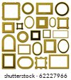Collection of golden vintage picture frames - vector - stock vector