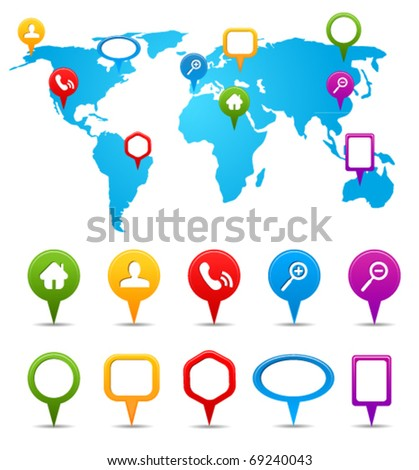 Collection of GPS and navigation icons on world map - stock vector