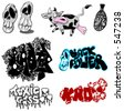 Collection of graffiti spots - stock vector