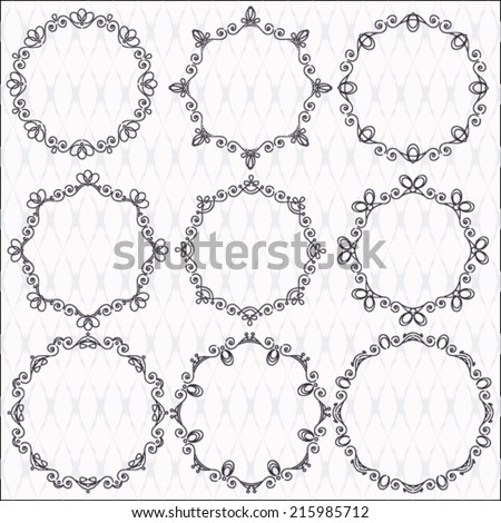 collection of graphic ornamental frames  - stock vector