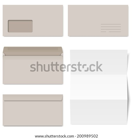 Collection of gray envelopes and white paper - stock vector