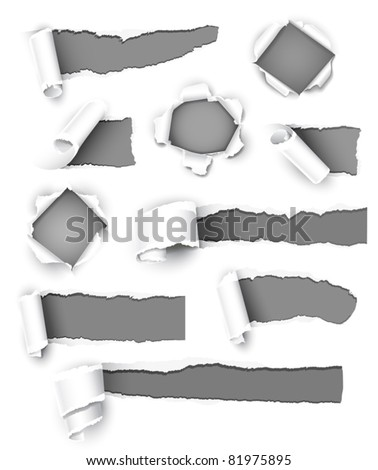 Collection of gray paper. Vector illustration - stock vector