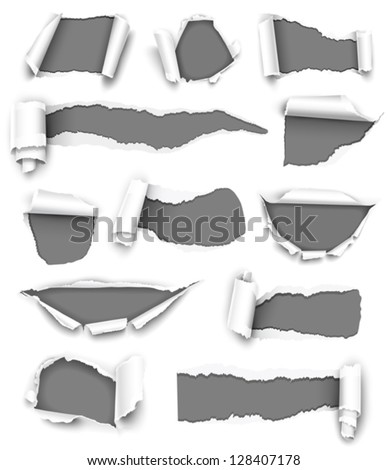 Collection Gray Torn Paper Vector Stock Vector 128407178