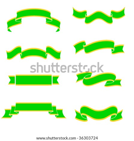 Collection of 8 green banners on white background. Illustration, vector file available - stock vector
