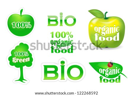 Collection of green eco and bio vector elements. Bio icons. Organic food logo. - stock vector