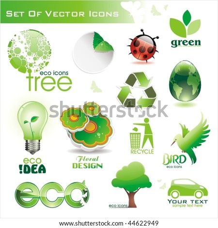 Collection of  green eco-icons - stock vector