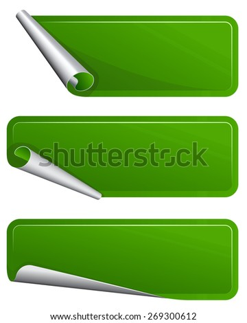 Collection of green label with curved side - stock vector