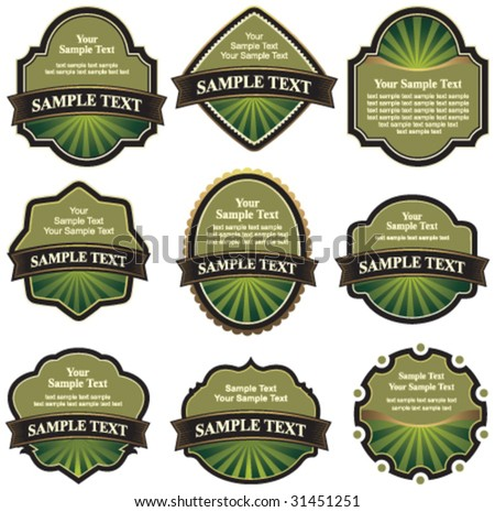 collection of green labels