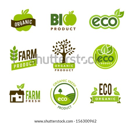 Collection of green organic icons - stock vector