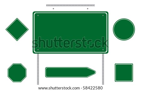 Collection of green road signs isolated on white background - stock vector