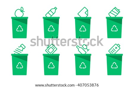 Collection of green separation recycle bin icon.Organic,batteries,metal,plastic,paper,glass,waste,light bulb,aluminium,food,can,bottle.Bin vector,recycle bin.Vector illustration. Isolated on white - stock vector
