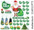 Collection of green stickers and Christmas design elements - stock vector