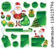 Collection of green stickers and Christmas design elements - stock photo