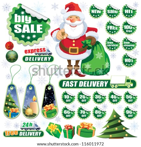 Collection of green stickers and Christmas design elements