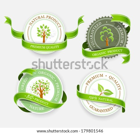 Collection of green stickers. Vector - stock vector