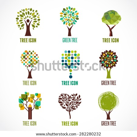 Collection of green tree - logos and icons - stock vector
