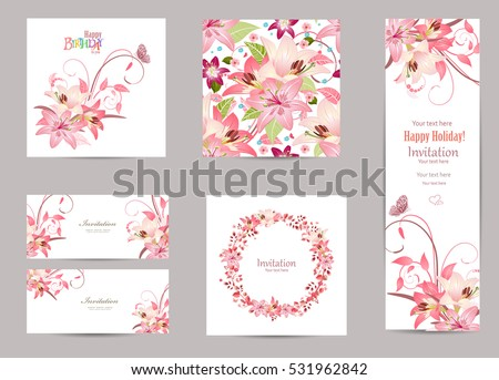 collection of greeting cards with blossom lilies for your design. seamless texture with lovely pink flowers pattern. elegant floral wreath