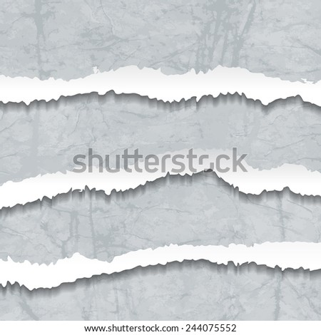 Collection of grey torn Crumbled Textured Paper. Vector illustration