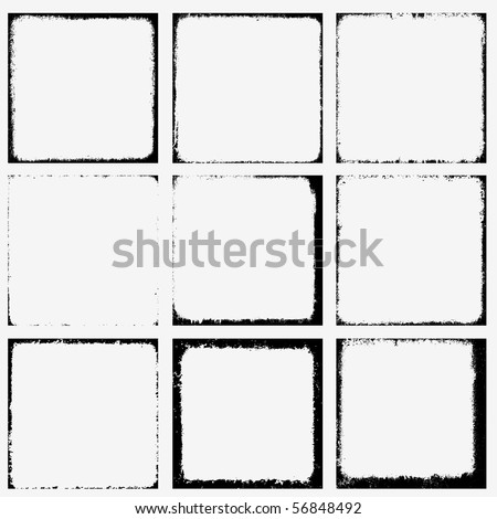 Collection of grunge borders. Vector. - stock vector