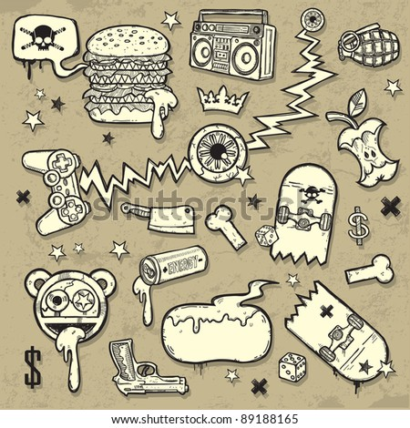 Collection of grunge clip-arts - stock vector