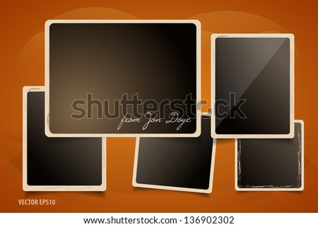 Collection of Grunge Photo Frames. Dark Wall with Art Background. - stock vector