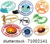 Collection of grunge tropical  summer stamps and with place for your text  inside - stock