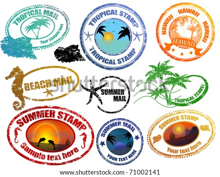 Collection of grunge tropical  summer stamps and with place for your text  inside - stock vector