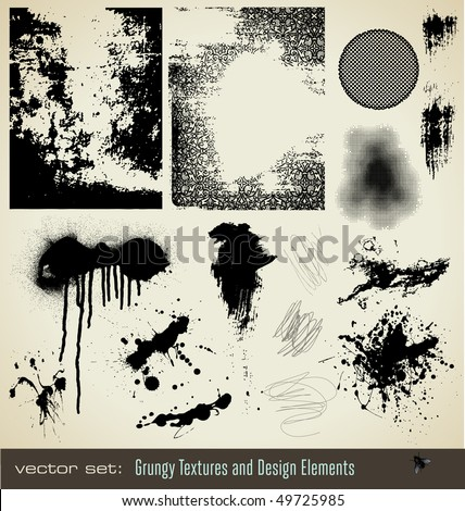 collection of grungy textures and design elements - stock vector