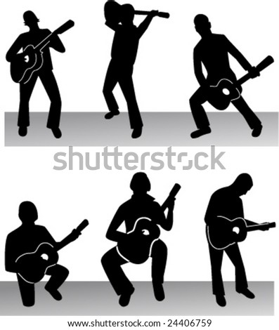 collection of guitarist 2 - vector