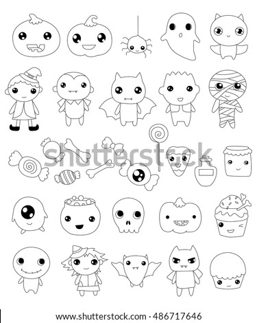 collection of halloween characters, halloween outline elements