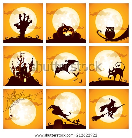 Collection of halloween elements - stock vector