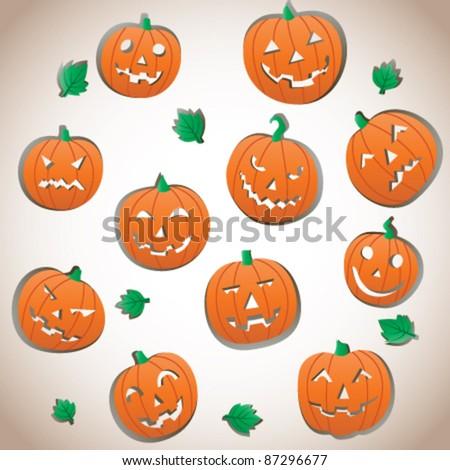 Collection of Halloween Pumpkins - stock vector