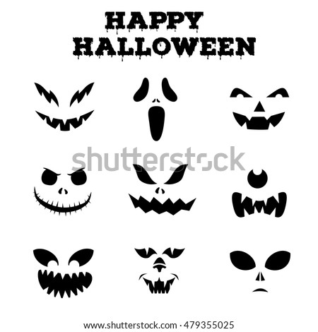 Collection Halloween Pumpkins Carved Faces Silhouettes Stock Vector ...